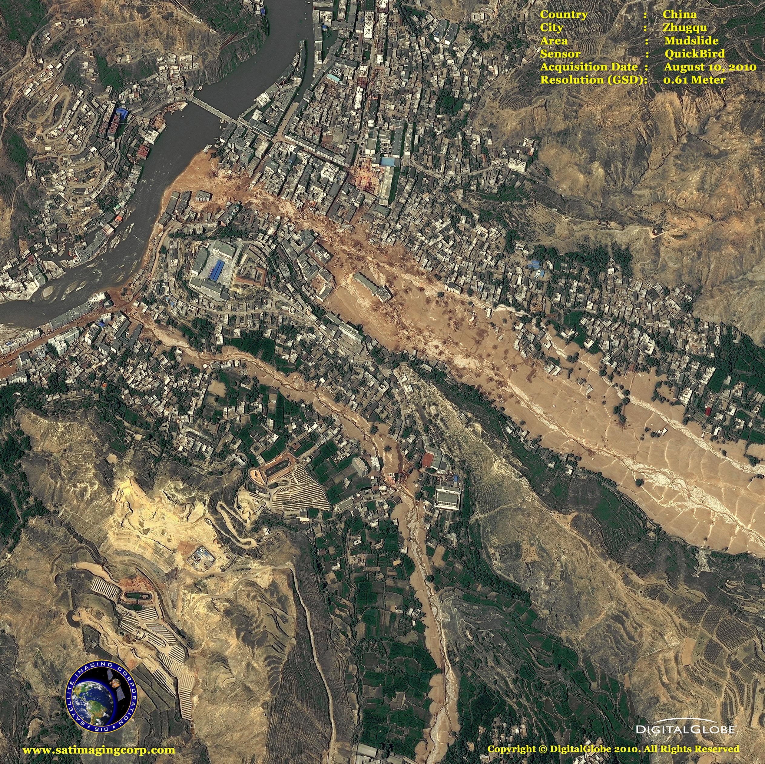 quickbird satellite image mudslide in china satellite
