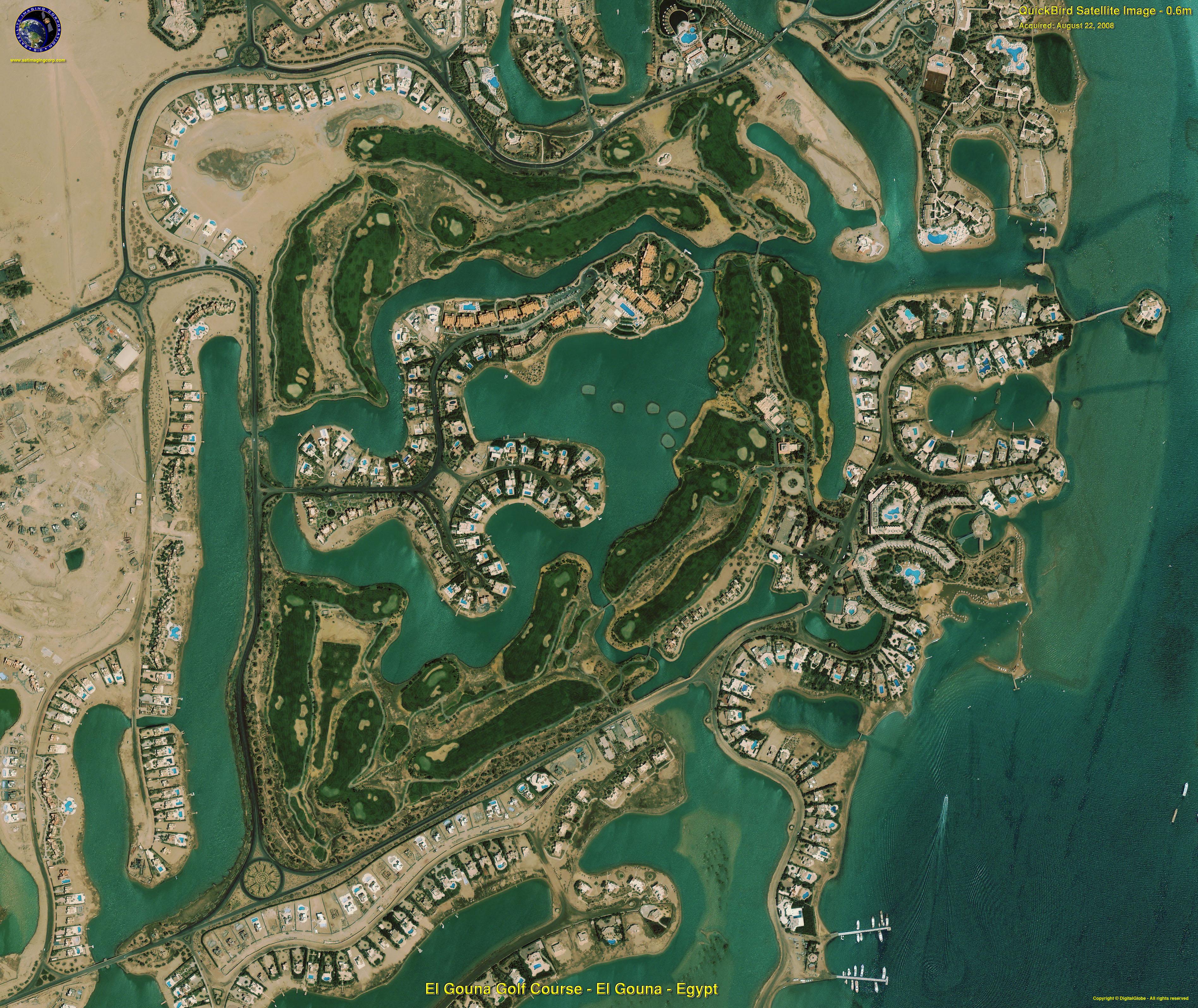 QuickBird Satellite Image Of El Gouna Golf Resort Satellite - Map of egypt el gouna