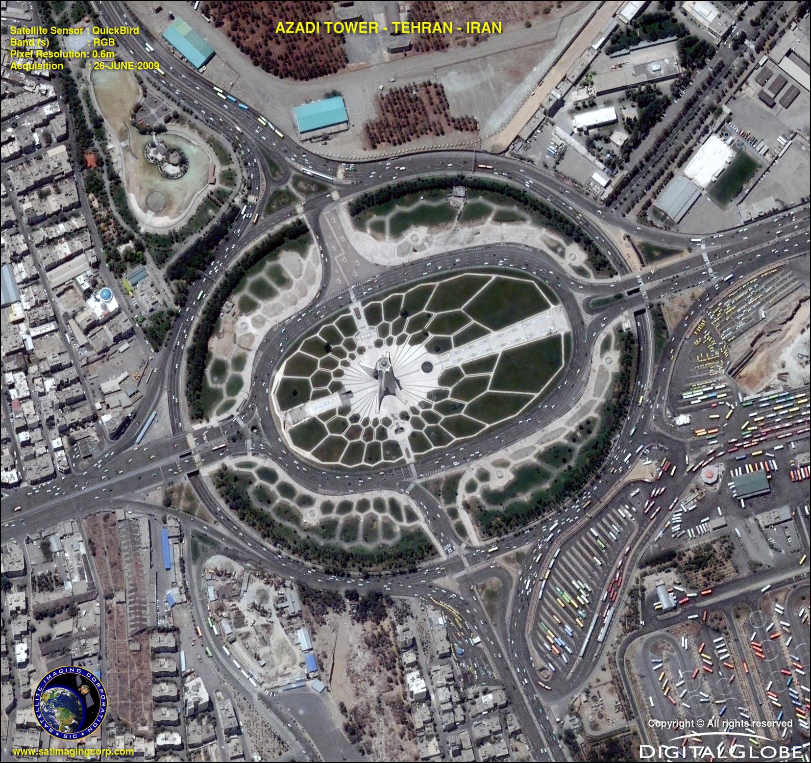 Quickbird Satellite Image Of Azadi Square Teheran Iran