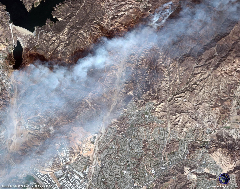 California Fires Satellite >> QuickBird Satellite Image of Fires in Los Angeles | Satellite Imaging Corp