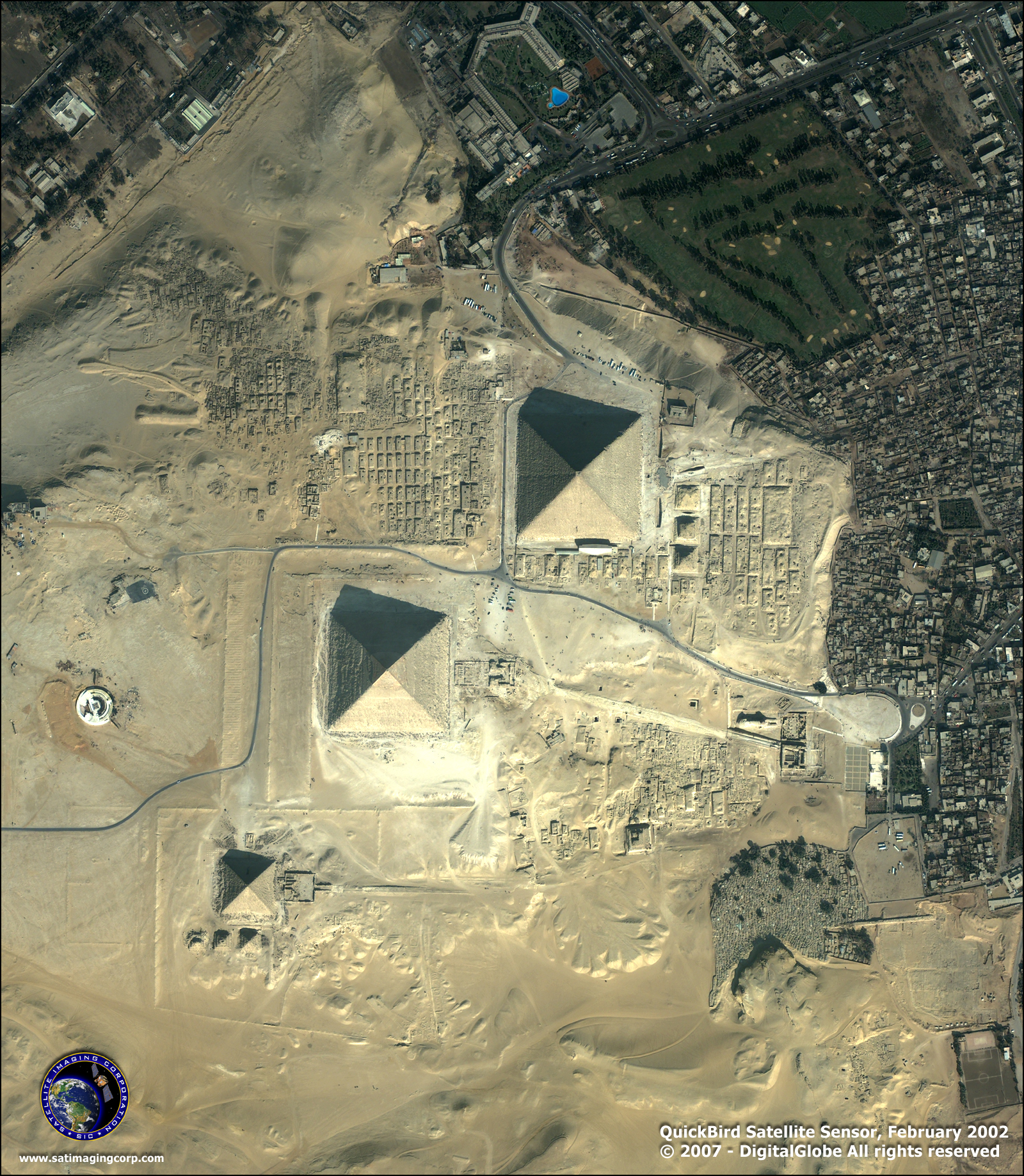 Pyramids In Egypt Map.Quickbird Satellite Image Of The Giza Pyramids Satellite Imaging Corp