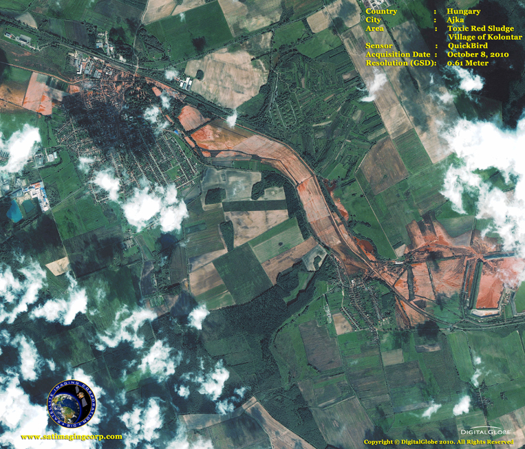 QuickBird Satellite Image of Toxic Red Sludge in Hungary