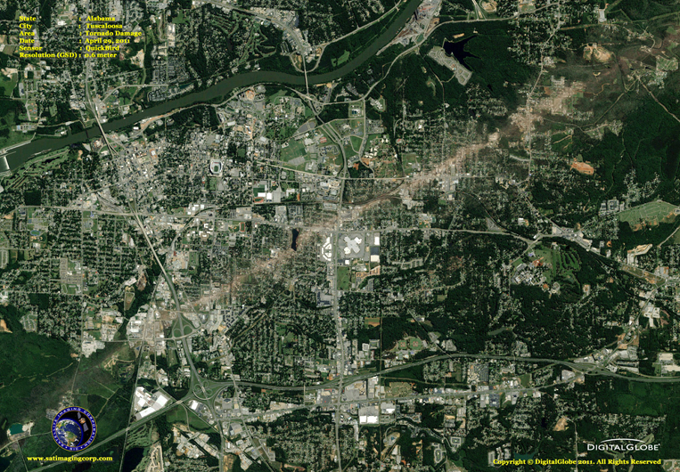 Satellite Imagery - Tuscaloosa Tornado Damage