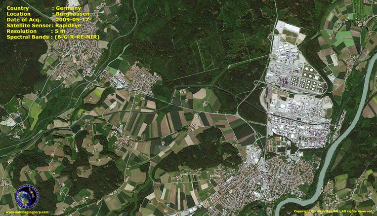 RapidEye Satellite Image of Burghausen, Germany