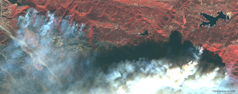 Satellite Photo of San Bernadino Wildfires