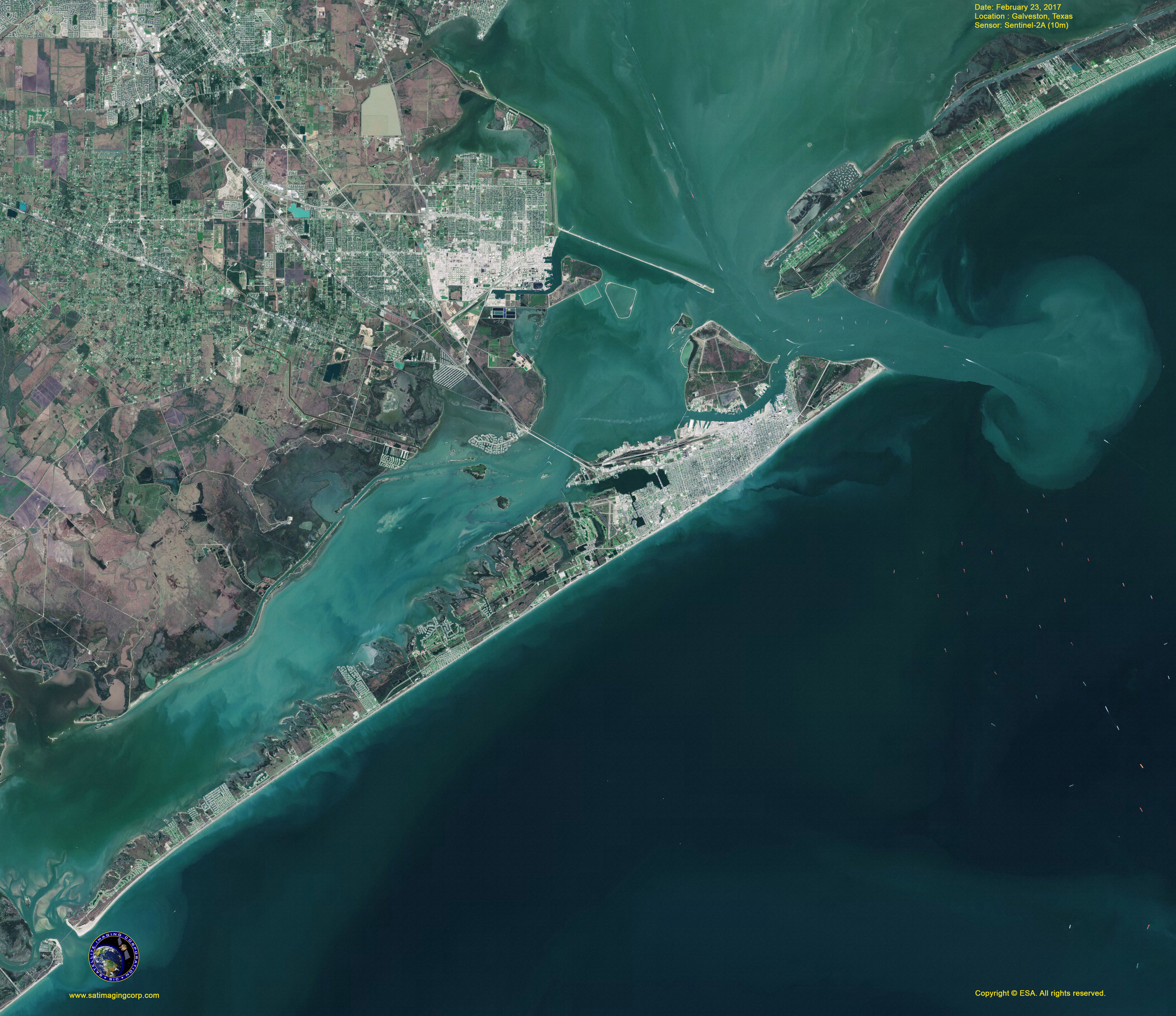 SentinelA Map Of Galveston Texas Satellite Imaging Corp - Satellite map of texas