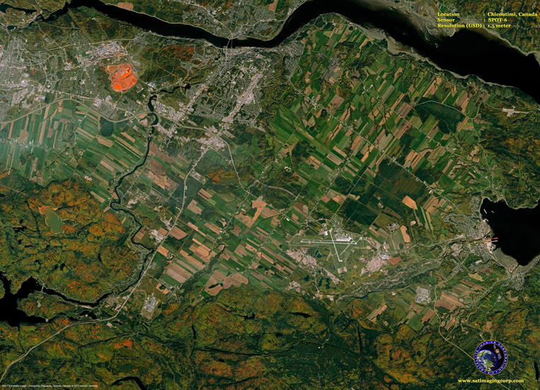 SPOT-6 Satellite Image of Chicoutimi, Canada