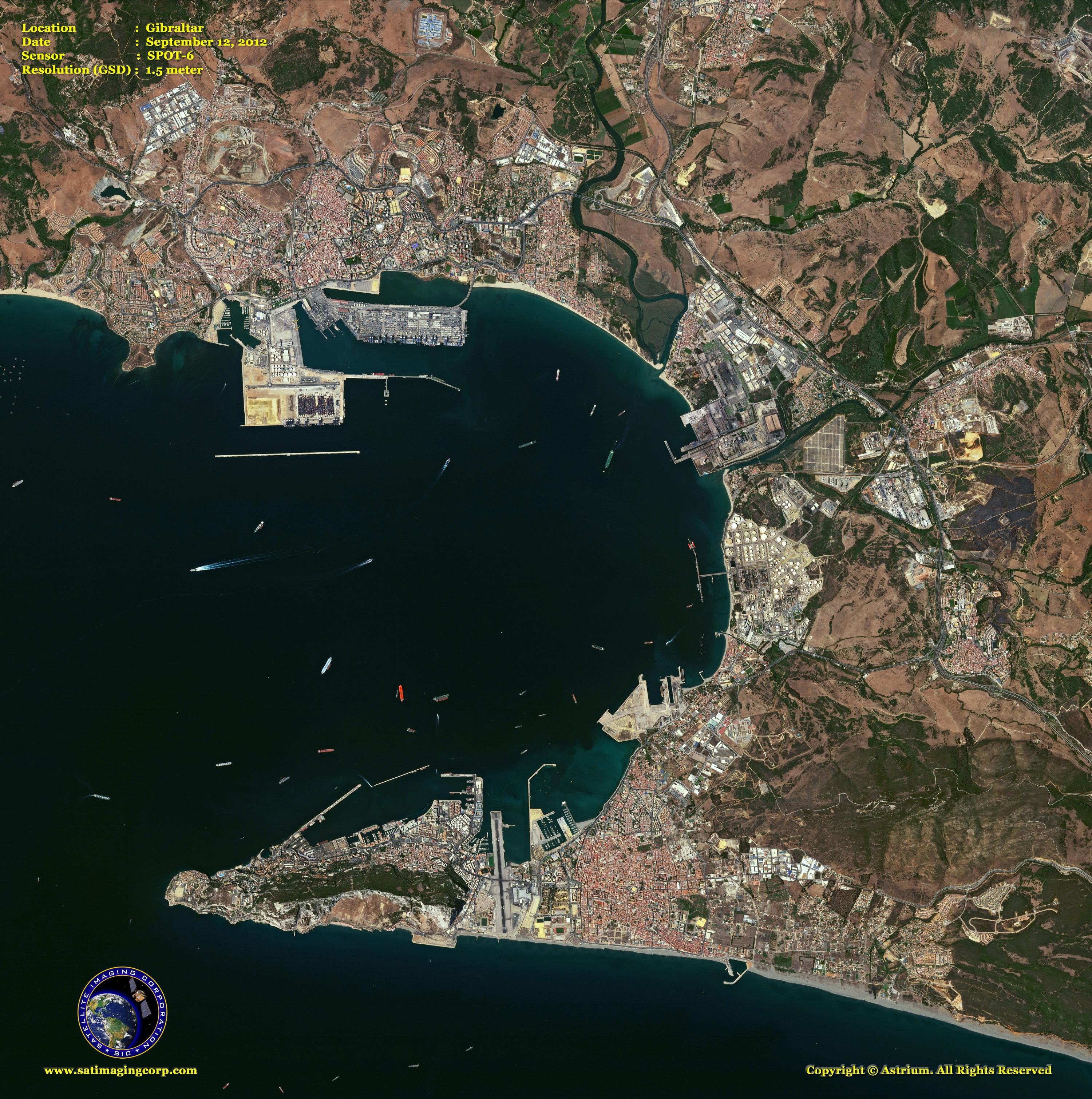 Spot 6 Satellite Image Of Gibraltar Satellite Imaging Corp