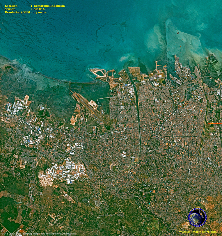 SPOT-6 Satellite Image of Semarang, Indonesia
