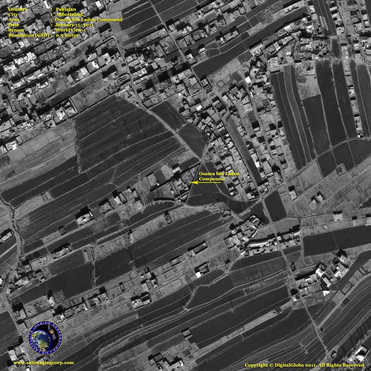 Satellite Image of the Bin Laden Compound in Abbottabad, Pakistan