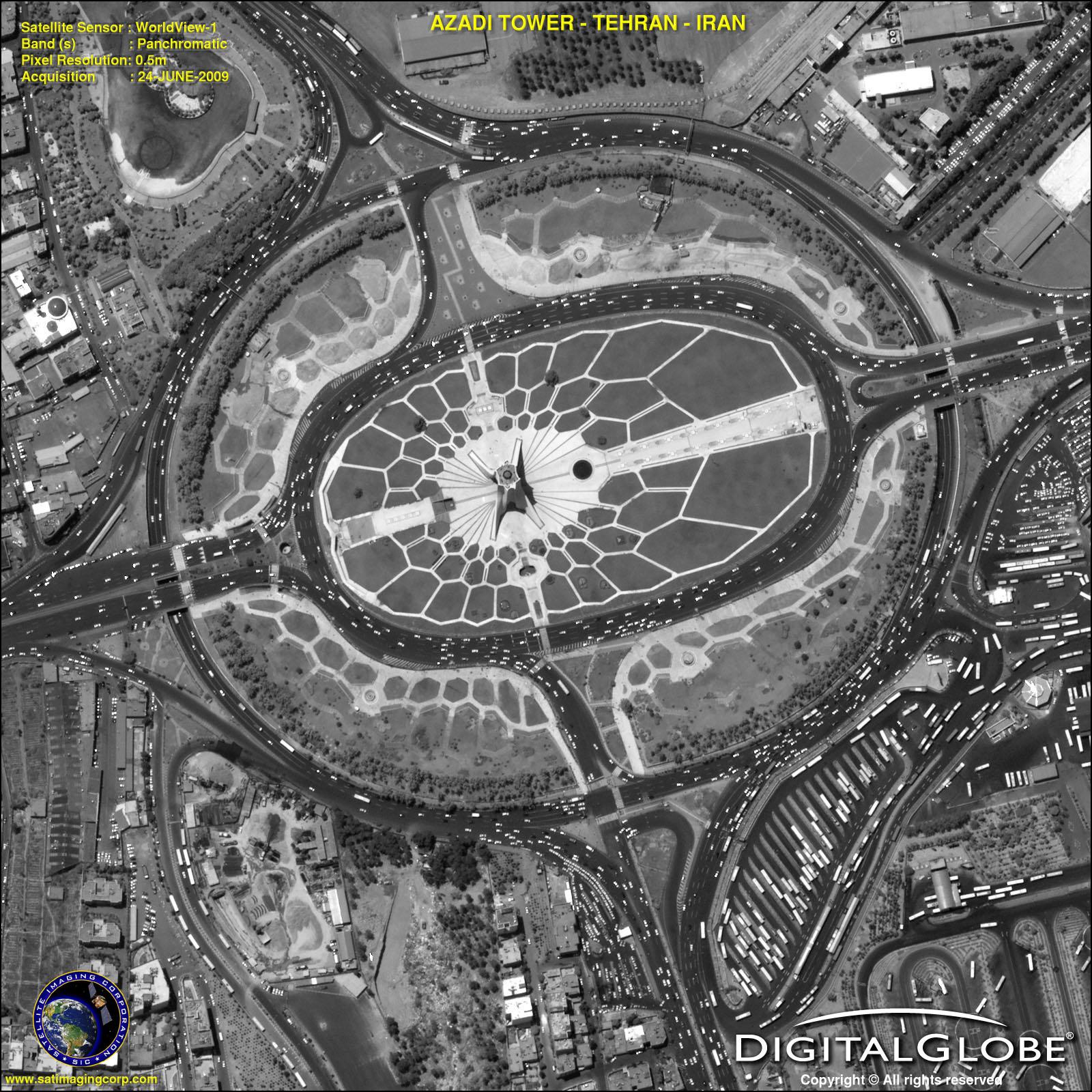 WorldView-1 Satellite Image Azadi Tower   Satellite ...