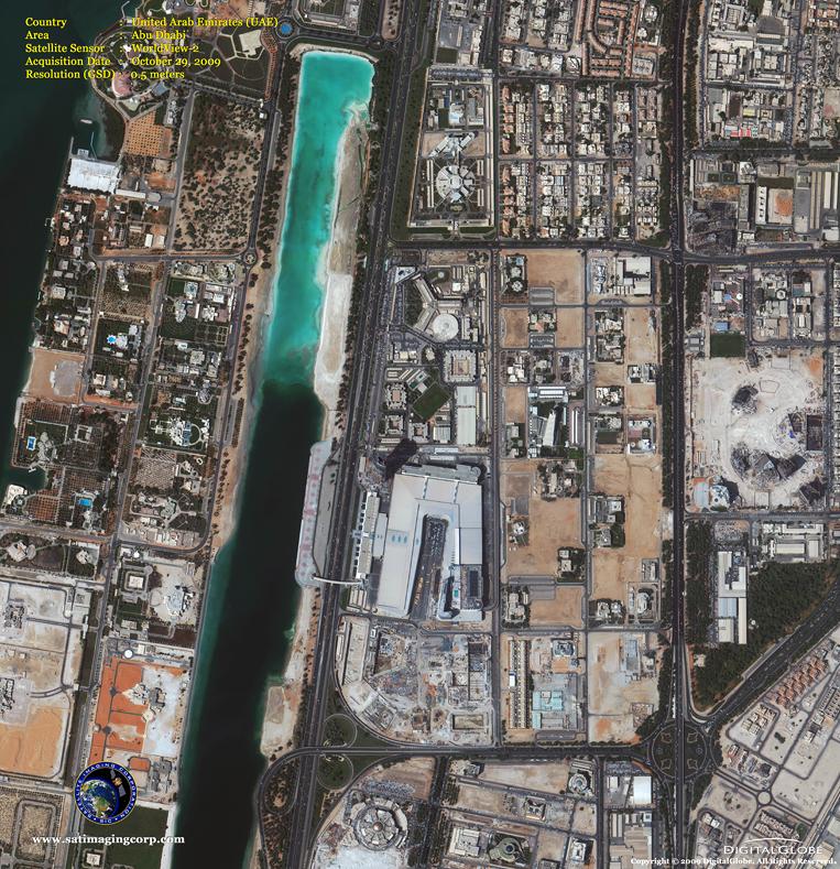 Satellite Image of Abu Dhabi in the United Arab Emirates