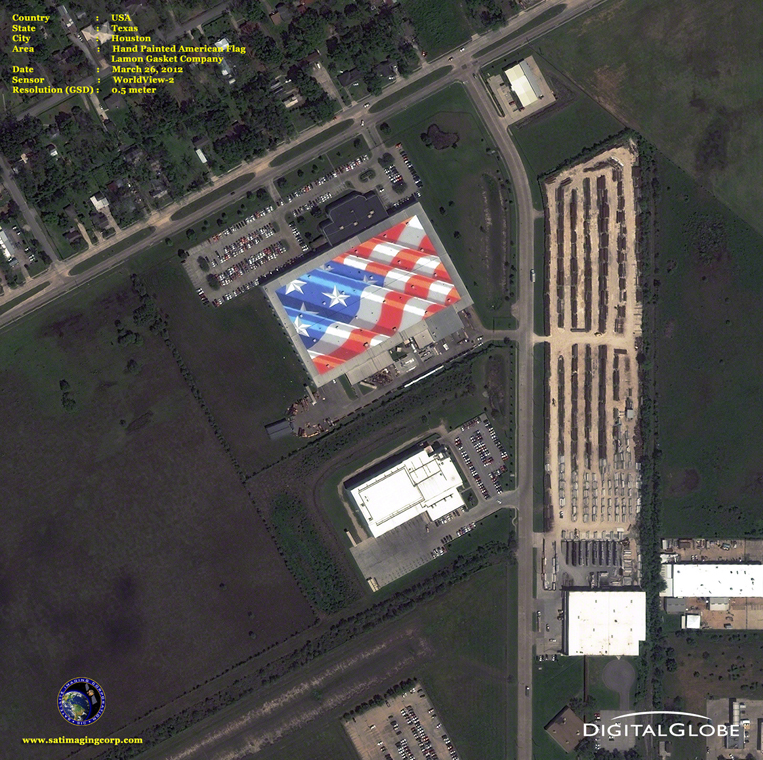 Satellite Images - Houston, Texas - American Flag