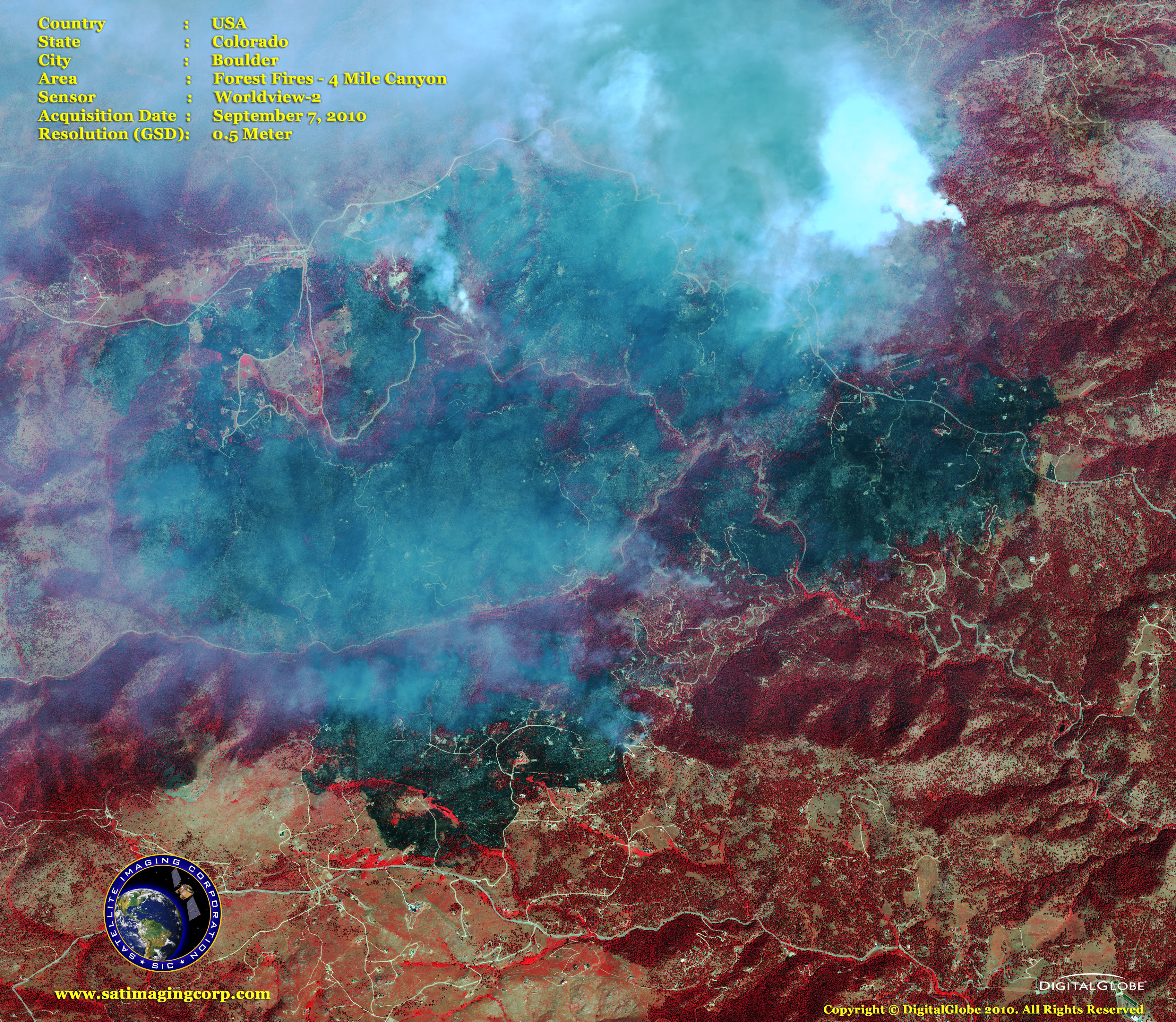 Colorado Corporation Search >> WorldView-2 Satellite Image Fires Boulder | Satellite Imaging Corp