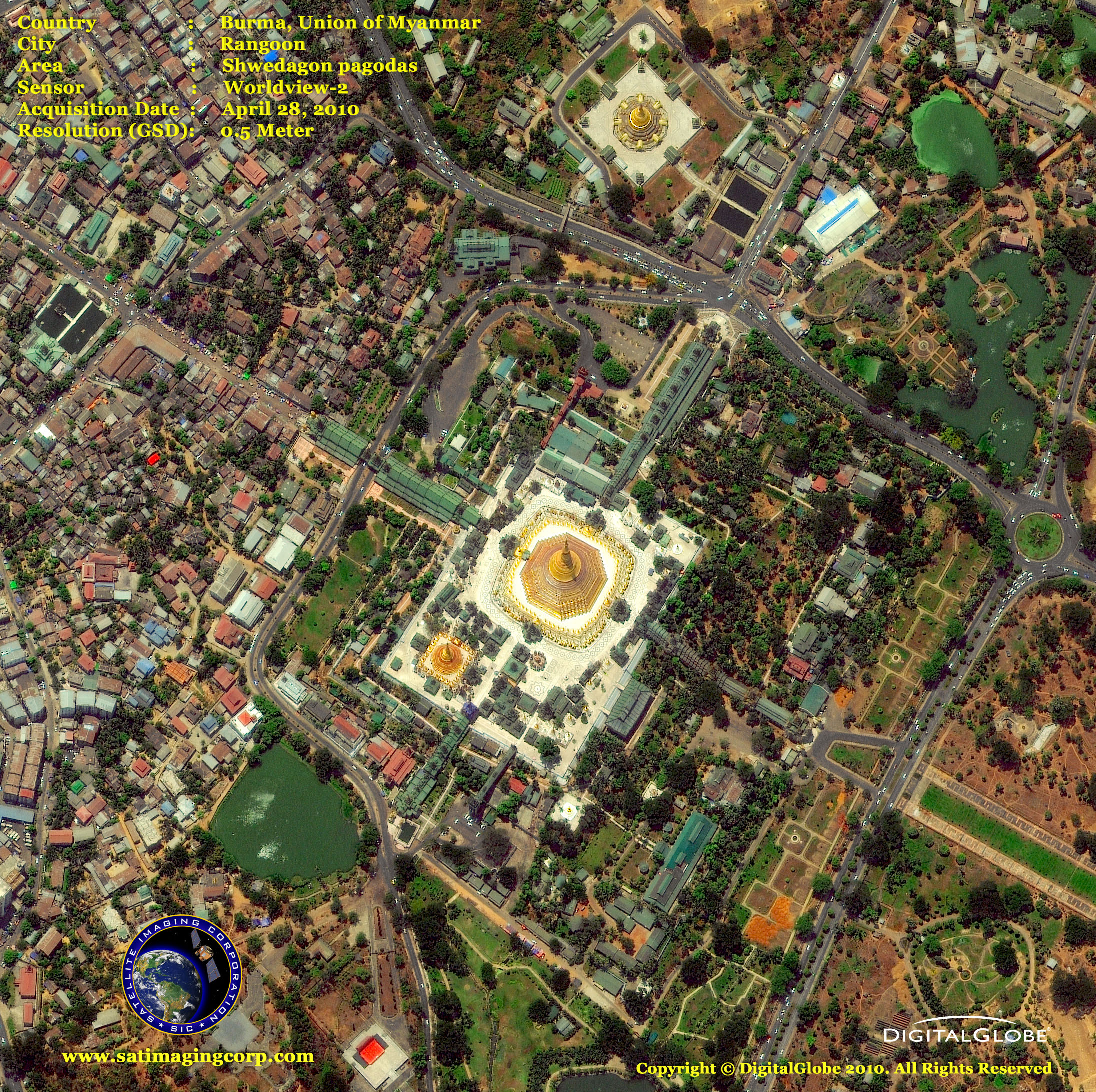 Worldview 2 Satellite Image Of Yangon Myanmar Satellite Imaging