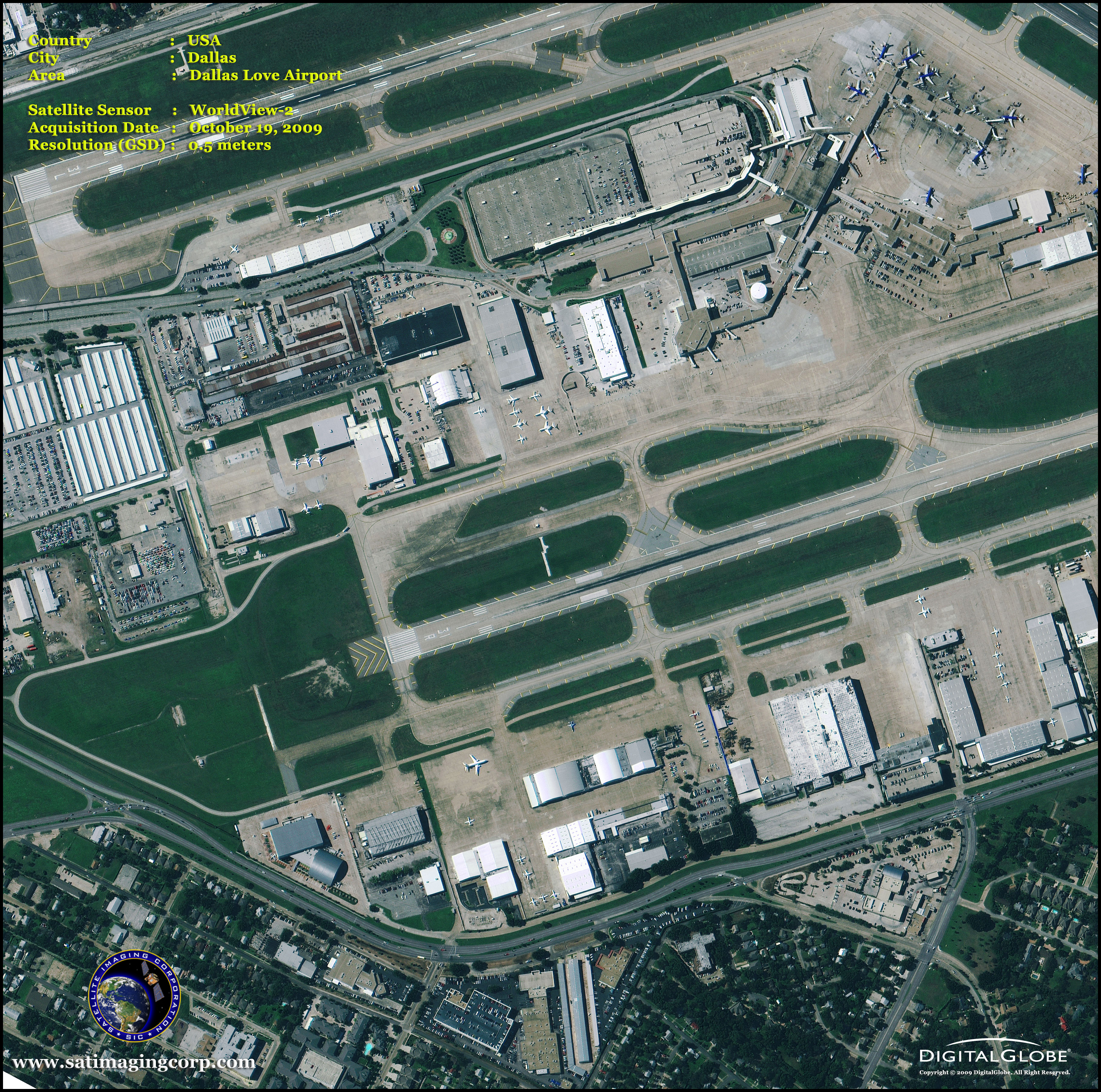 WorldView Satellite Image Of Love Field Airport Satellite - Worldview 2 satellite