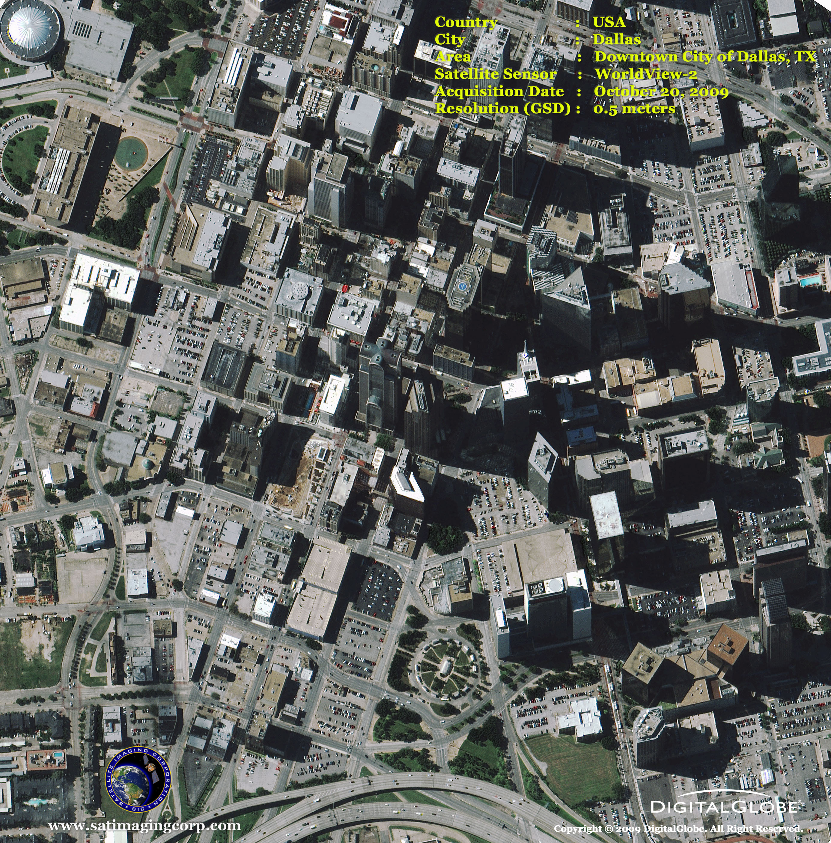 WorldView Satellite Image Downtown Dallas Satellite Imaging Corp - Worldview satellite image