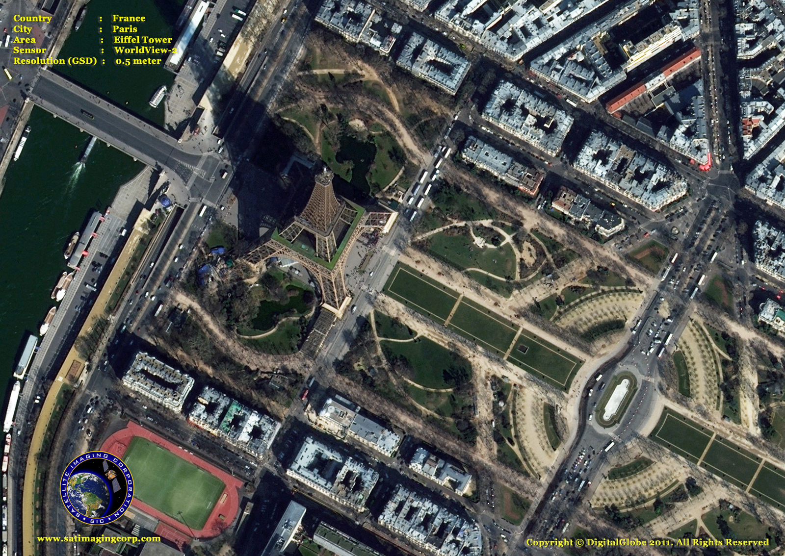 Worldview 2 Satellite Image Of The Eiffel Tower