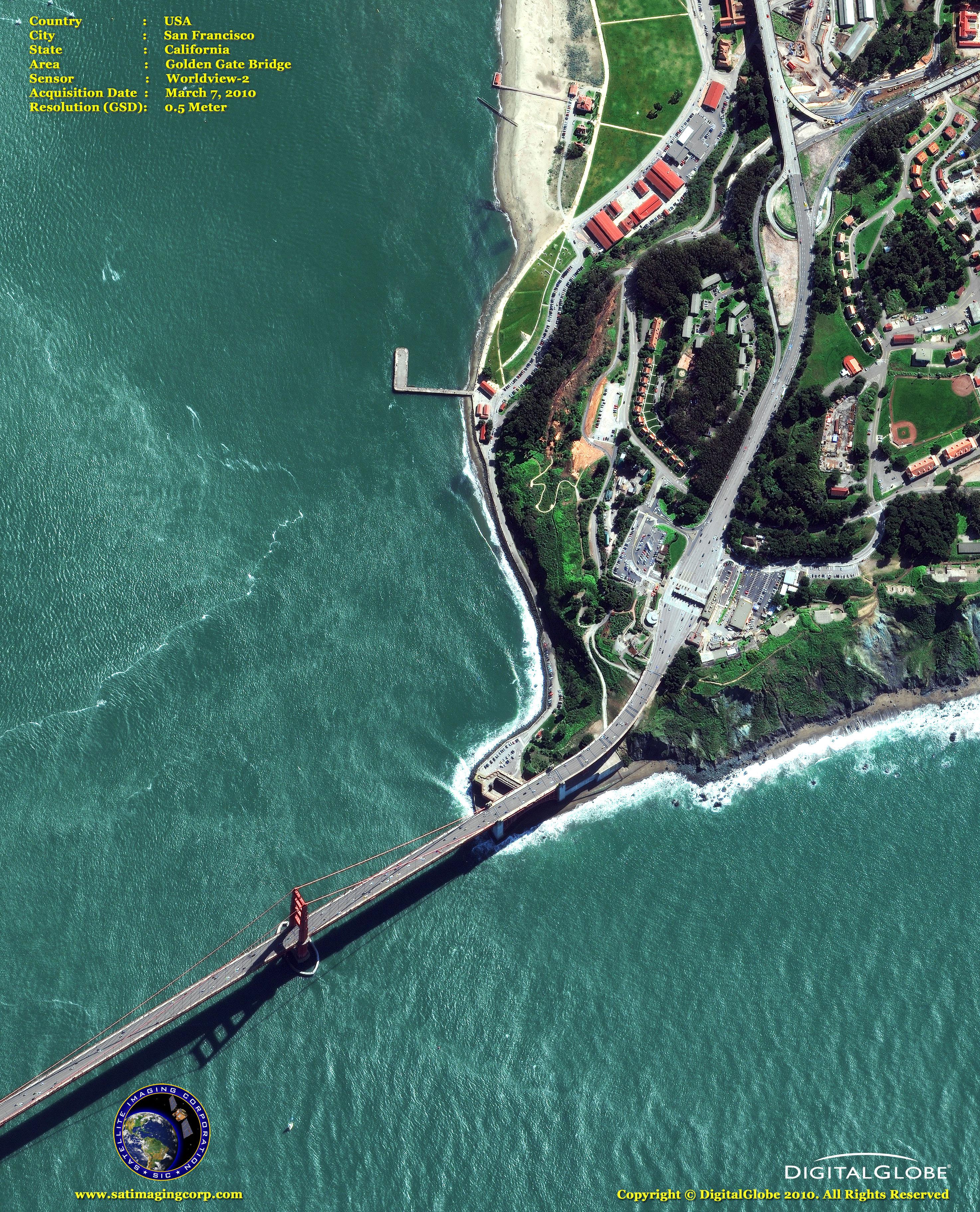 WorldView2 Satellite Image Golden Gate Bridge Satellite Imaging Corp