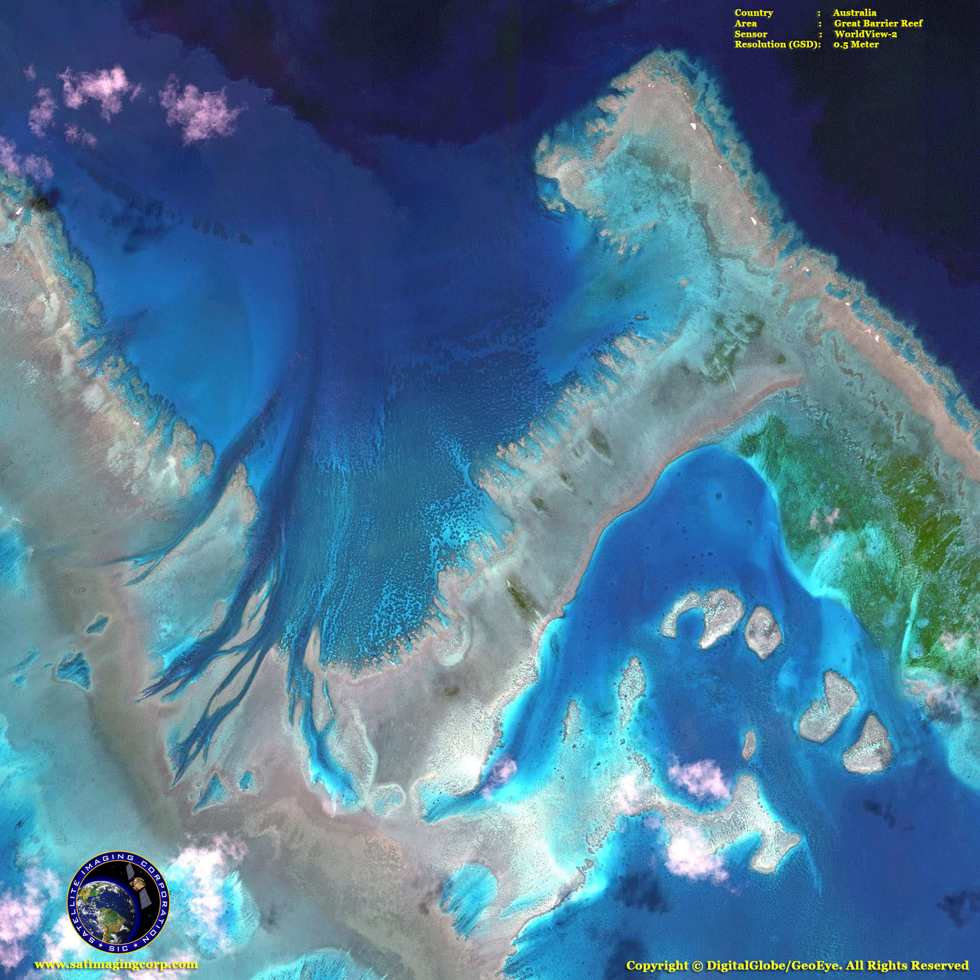 WorldView2 Satellite Image Great Barrier Reef  Satellite Imaging