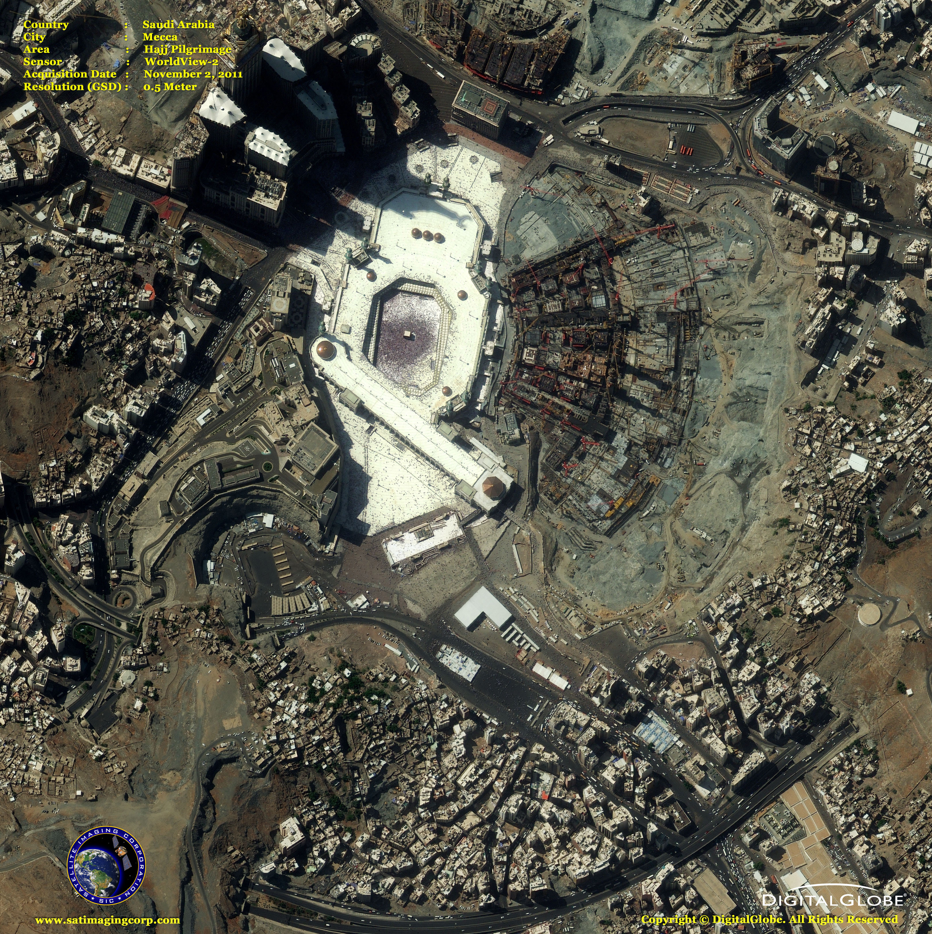 Worldview 2 Satellite Image Hajj Pilgrimage Satellite Imaging Corp