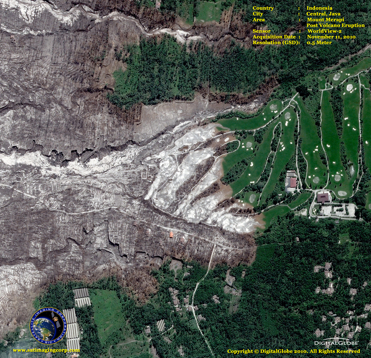 WorldView-2 Satellite Image of Indonesia After Mount Merapi Eruption