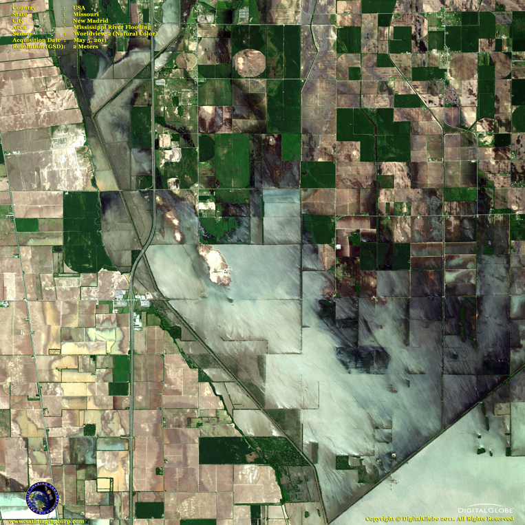 Satellite Images - New Madrid - Mississippi River Flooding