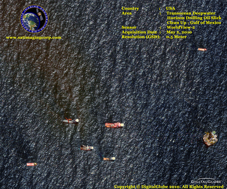 WorldView-2 Satellite Image of Gulf Oil Slick Cleanup (Deepwater Horizon Explosion)
