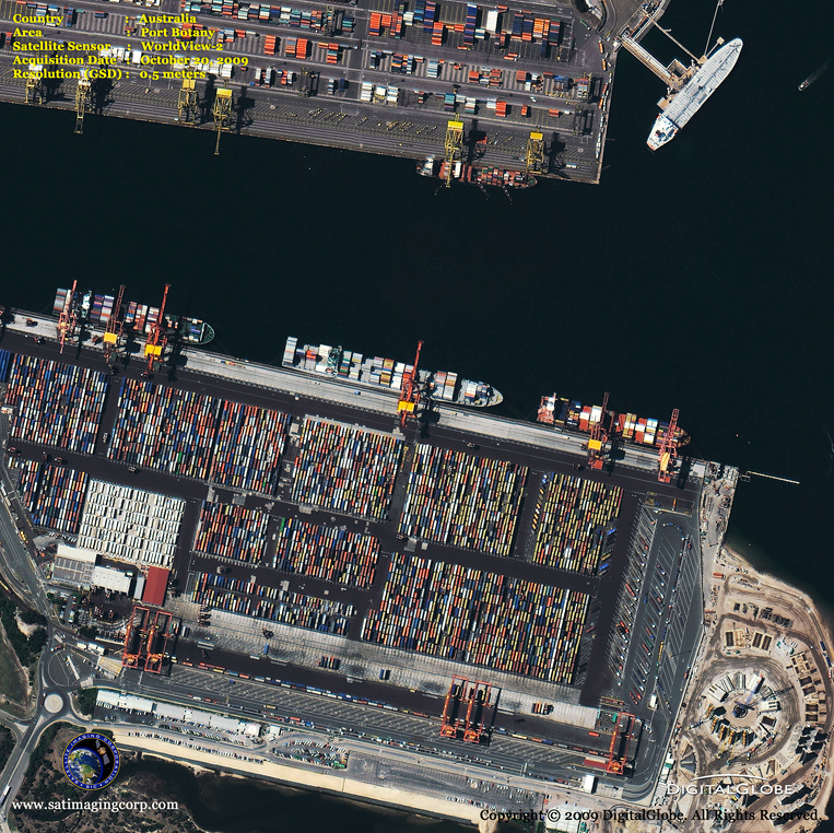 Satellite Image of Port Botany in Australia