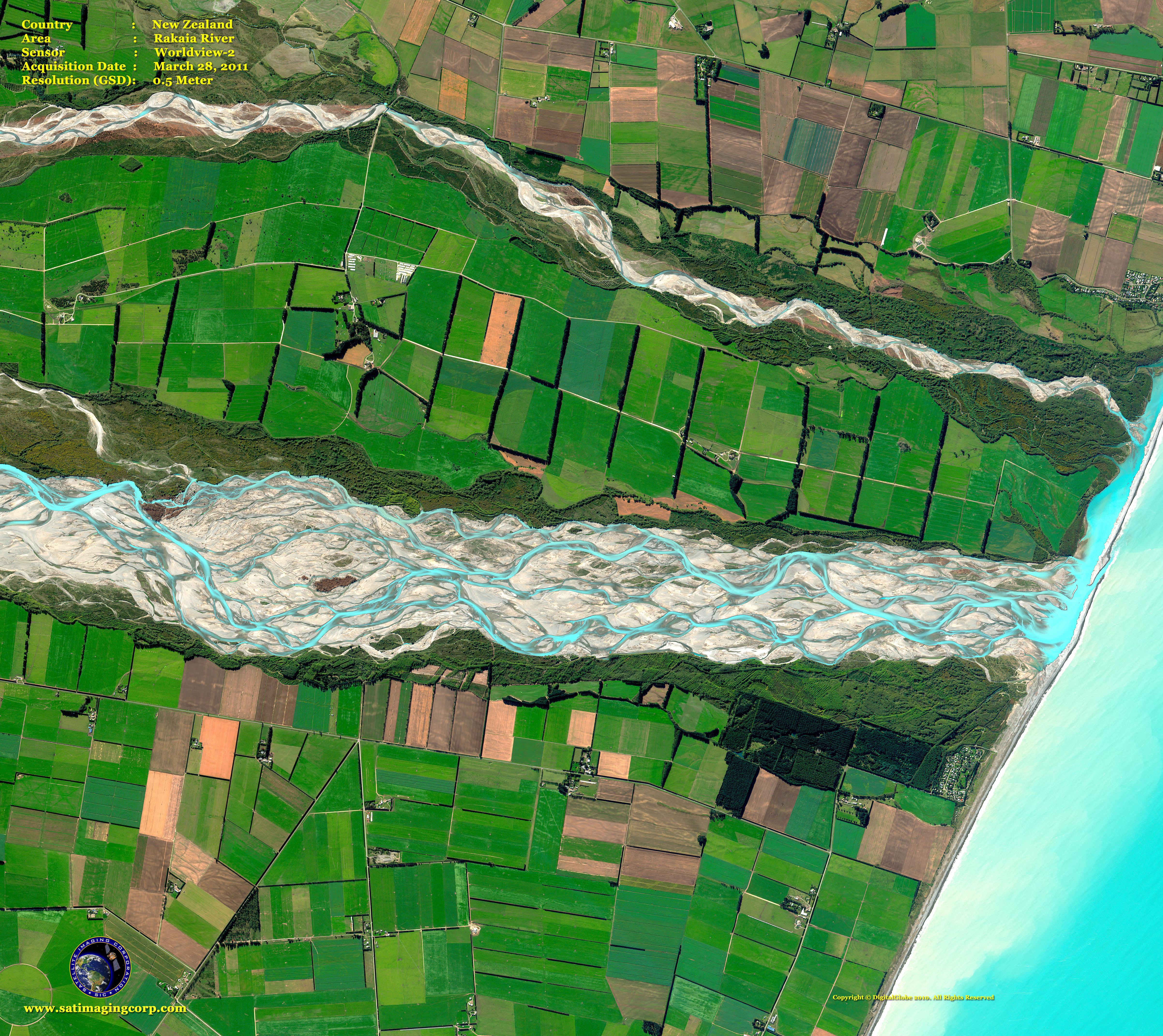 worldview2 satellite image of the rakaia river